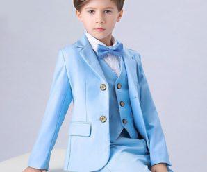 Ternos para niños color azul cielo o celeste promoción inicial 5 años