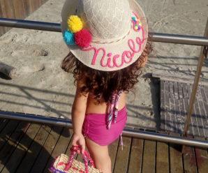 Kit playero, bolsa y sombrero personalizado para niñas